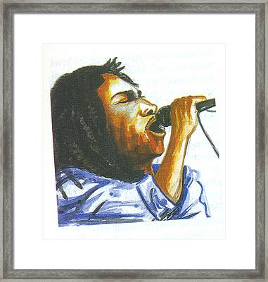 Framed Print featuring the painting Bob Marley by Emmanuel Baliyanga