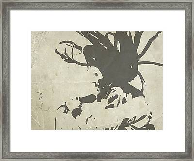 Bob Marley Grey Framed Print by Naxart Studio