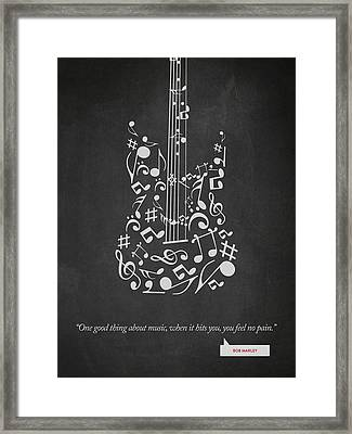 Bob Marley Quote - One Good Thing About Music... 02 Framed Print