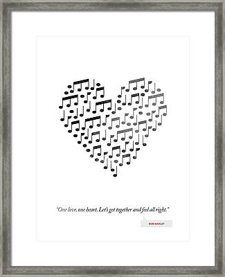 Bob Marley Quote - One Love, One Heart ... Framed Print by Aged Pixel