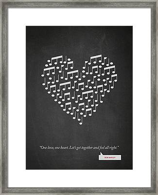 Bob Marley Quote - One Love, One Heart ...02 Framed Print by Aged Pixel