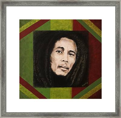 Framed Print featuring the painting Bob Marley by Teresa Wing