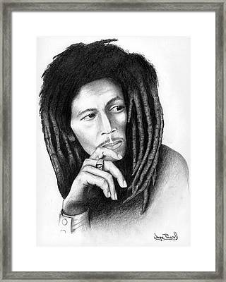 Framed Print featuring the drawing Bob Marley by Wayne Pascall