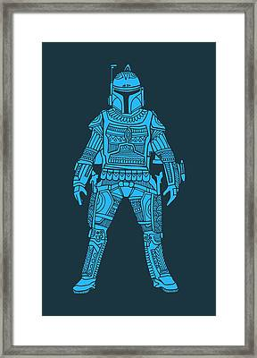 Boba Fett - Star Wars Art, Blue Framed Print