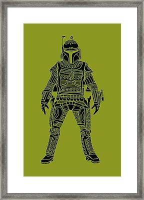 Boba Fett - Star Wars Art, Green Framed Print by Studio Grafiikka