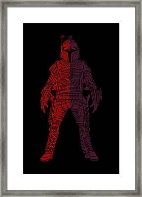 Boba Fett - Star Wars Art, Red Violet Framed Print by Studio Grafiikka