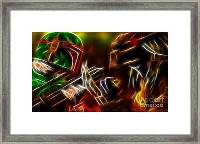 Boba Fett Vs Predator Framed Print by Pamela Johnson