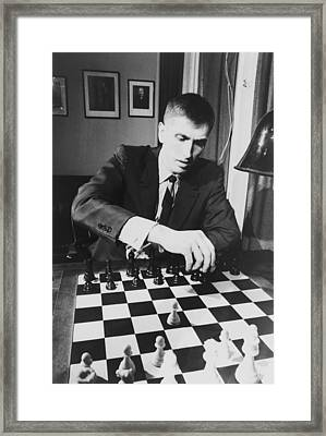 Bobby Fischer 1943-2008 Competing At An Framed Print