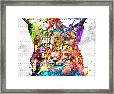 Bobcat Grunge Framed Print