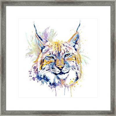 Bobcat Head Framed Print by Marian Voicu