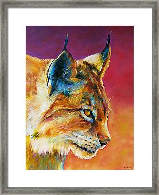 Bobcat In Wait Framed Print by Robert Pankey