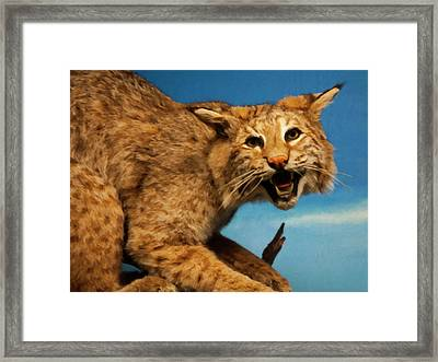 Framed Print featuring the digital art Bobcat On A Branch by Chris Flees