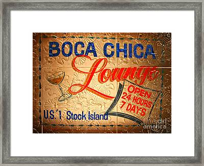 Boca Chica Lounge Sign Stock Island Florida Keys Framed Print by John Stephens