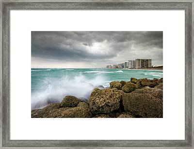 Boca Raton Florida Stormy Weather - Beach Waves Framed Print by Dave Allen
