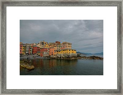 Boccadasse Bay, Genoa, Italy Framed Print by Cesare Palma