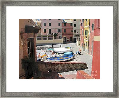 Boccadasse-  Genoa- Harbor Framed Print by Italian Art
