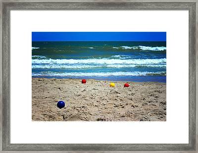 Bocce On The Beach Framed Print by Greg Simmons