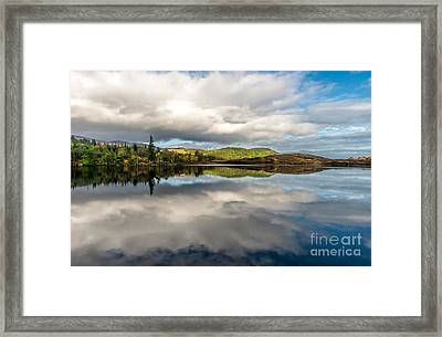 Bodgynydd Lake Reflections Framed Print by Adrian Evans