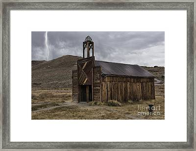 Bodie Fire Station With Lightning Framed Print