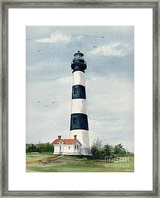 Framed Print featuring the painting Bodie Island Lighthouse by Nancy Patterson