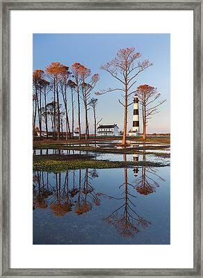 Bodie Island Lighthouse Obx Golden Sunset Reflections Framed Print by Mark VanDyke