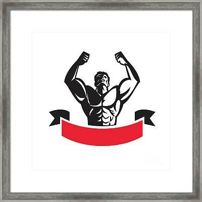 Body Builder Flexing Muscles Banner Retro Framed Print by Aloysius Patrimonio
