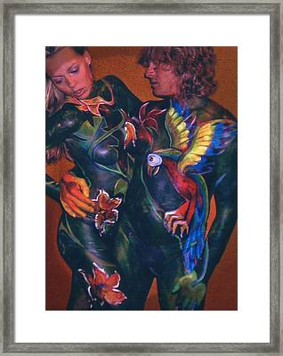 Body Paint Parrot Framed Print by Michael Rutland
