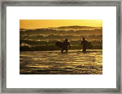 Body Surfers On The Coast Of Kodiak Framed Print by Marion Owen