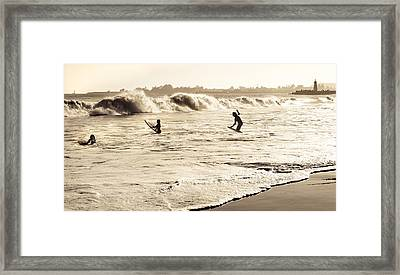 Body Surfing Family Framed Print by Marilyn Hunt