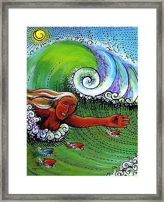 Body Surfing With My Buddies Framed Print