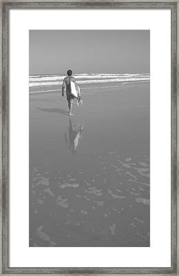 Bodyboarding In Black And White 2 Framed Print by Mandy Shupp
