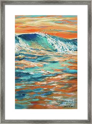 Bodysurfing At Sunset Framed Print by Linda Olsen