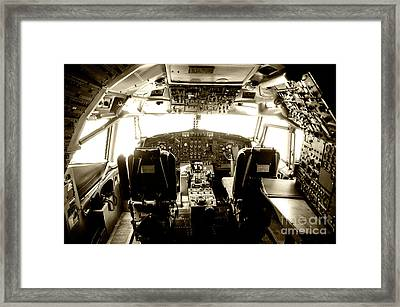 Framed Print featuring the photograph Boeing 747 Cockpit 21 by Micah May