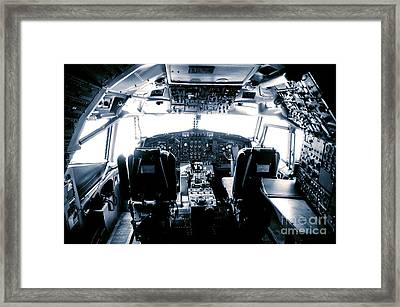 Framed Print featuring the photograph Boeing 747 Cockpit 22 by Micah May
