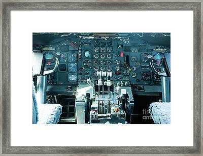 Framed Print featuring the photograph Boeing 747 Cockpit 23 by Micah May