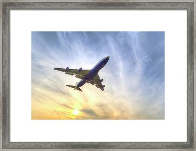 Boeing 747 Sunset  Framed Print by David Pyatt