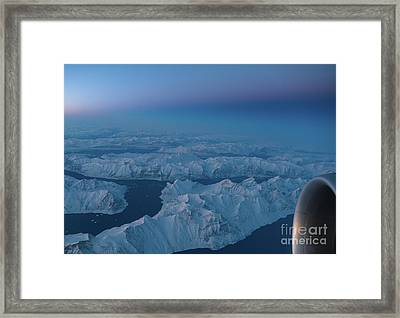Boeing 777 Flying Over Greenland Fjords Framed Print