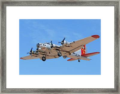 Boeing B-17g Flying Fortress N5017n Aluminum Overcast Landing Deer Valley Airport March 31 2011 Framed Print