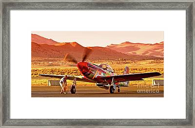 Boeing North American P-51d Sparky At Sunset In The Valley Of Speed Reno Air Races 2010 Framed Print