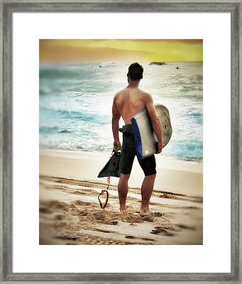 Boggie Boarder At Waimea Bay Framed Print