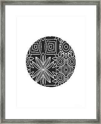 Boho Black And White Ball 1- Art By Linda Woods Framed Print by Linda Woods