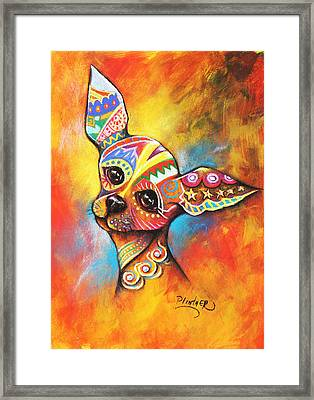 Framed Print featuring the drawing Chihuahua by Patricia Lintner