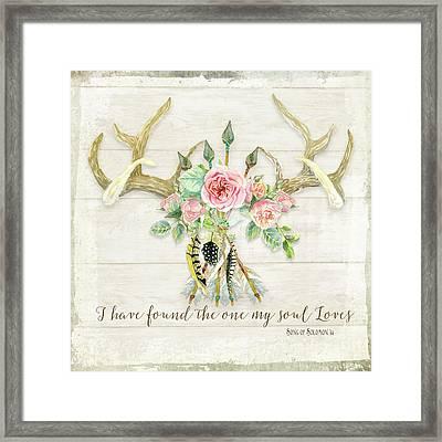 Boho Love - Deer Antlers Floral Inspirational Framed Print by Audrey Jeanne Roberts