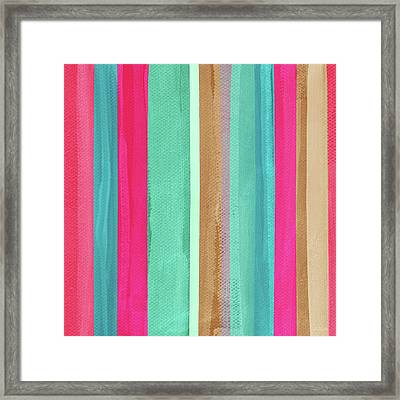 Boho Stripe- Art By Linda Woods Framed Print