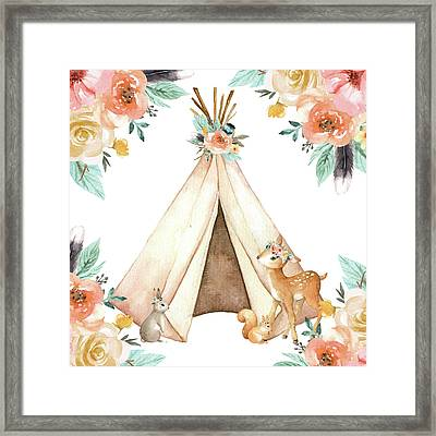 Boho Teepee Deer Bunny Woodland Baby Nursery Pillow Wall Art Print Framed Print