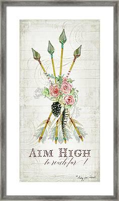 Boho Western Arrows N Feathers W Wood Macrame Feathers And Roses Aim High Framed Print