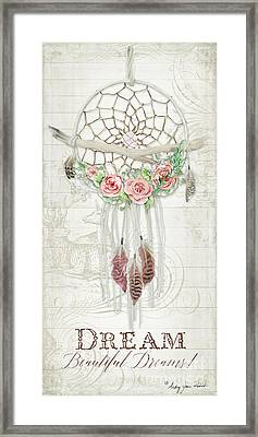 Boho Western Dream Catcher W Wood Macrame Feathers And Roses Dream Beautiful Dreams Framed Print
