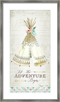 Framed Print featuring the painting Boho Western Teepee With Arrows N Feathers W Wood Tribal Border by Audrey Jeanne Roberts