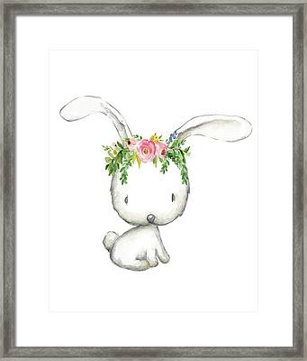 Boho Woodland Bunny Floral Watercolor Framed Print