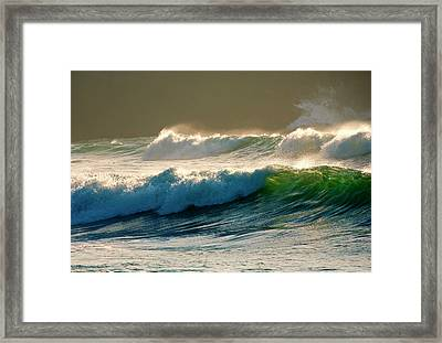 Boiler Bay Waves Rolling Framed Print by Mike  Dawson